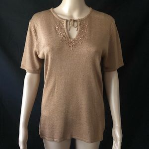 Sag Harbor Sweater Small  Mocha Brown Embroidered